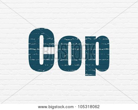 Law concept: Cop on wall background