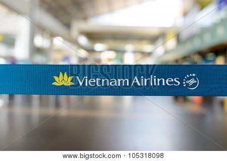 HANOI, VIETNAM - MAY 11, 2015: close up shot of belt with Vietnam Airlines logo. Vietnam Airlines has a network within East Asia, Southeast Asia, Europe and Oceania.