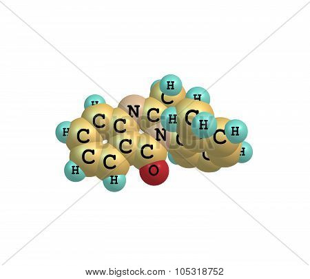 A model of Methaqualone a hypnotic or soporific drug used to treat insomnia. Commonly known as Quaaludes or Parest. 3d illustration