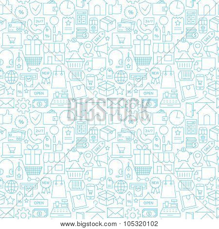 Thin Shopping Retail Line White Seamless Pattern