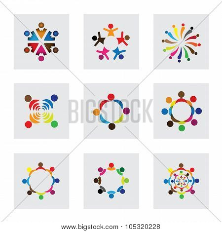 Vector Logo Icons Of Children Playing Together