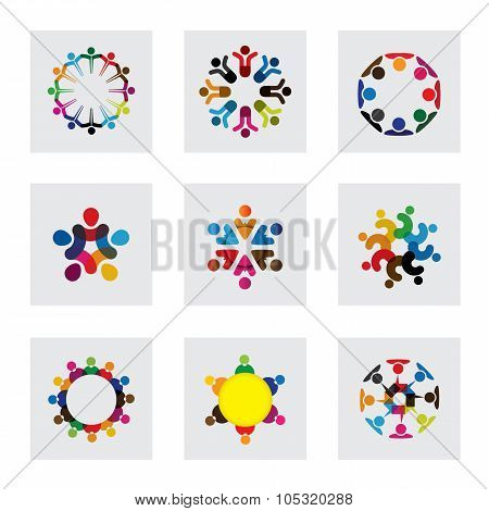 Vector Logo Icons Of People Together - Sign Of Unity, Partnership, Leadership