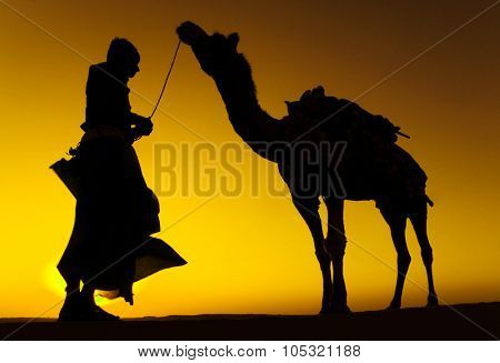 Indigenous Indian Man with His Camel Concept