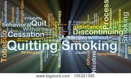 Background concept wordcloud illustration of quitting smoking glowing light