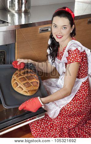 Pretty Housewife Baking Bread