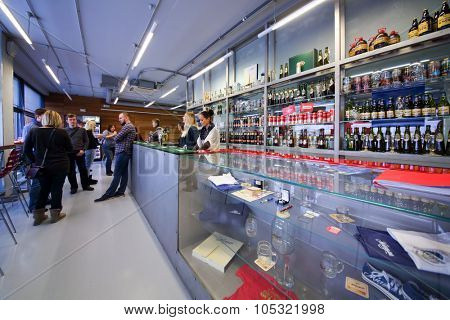 MOSCOW - DECEMBER 2, 2014: People in the bar of Moscow Brewing Company