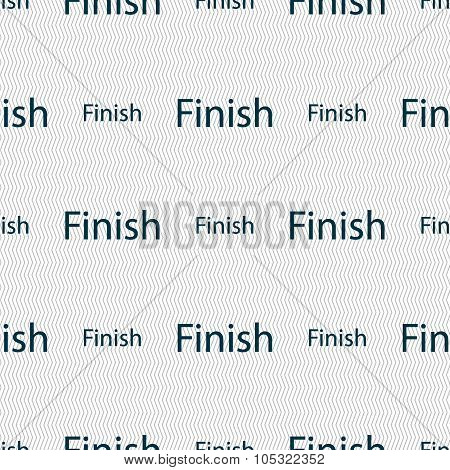 Finish Sign Icon. Power Button. Seamless Abstract Background With Geometric Shapes. Vector
