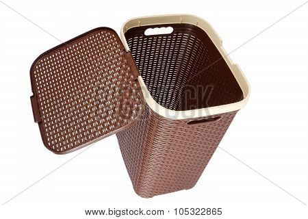 Brown Laundry Basket Isolated On A White Background
