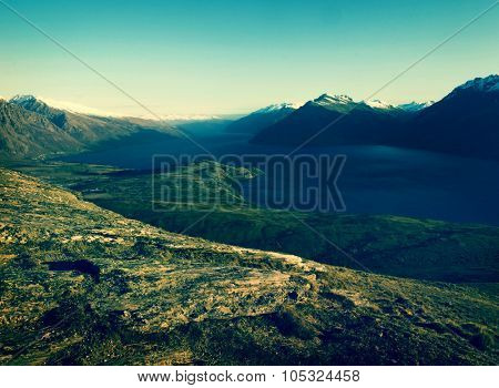 Marvelous Lake Wakatipu Mountain Range Concept