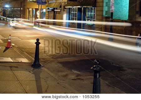 Night Time On Beacon Street With Light Trails