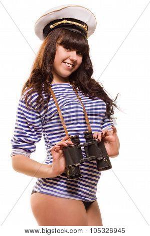 Navy Pinup Girl With Binocular