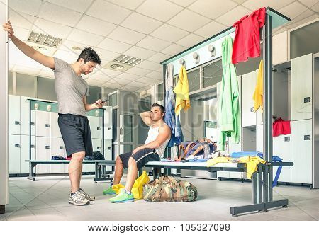 Young People At Gym Dressing Room - Handsome Guys At Fitness Studio Doing Their Own Staff