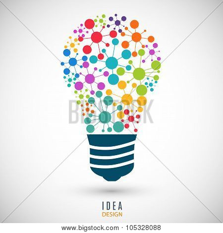 bulb icon colored on the gray background. stock vector