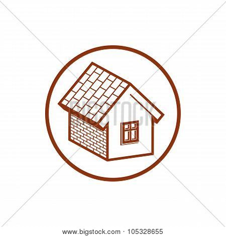 Country House Constructed With Bricks, Home Symbol. Vector Conceptual Icon For Advertising And Home