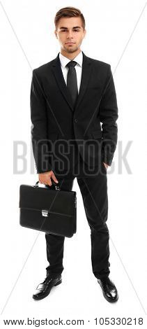 Elegant man in suit with briefcase isolated on white