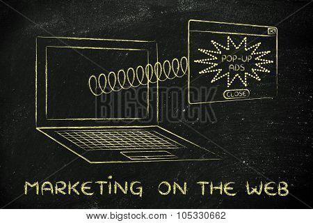 Webmarketing: Pop-up Ads Coming Out Of Laptop Screen With A Spring