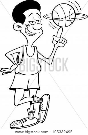 Cartoon basketball player spinning a basketball.