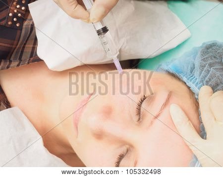 Cosmetology procedure mesoteraphy. Rejuvenation revitalization, skin nutrition, wrinkle reduction. D