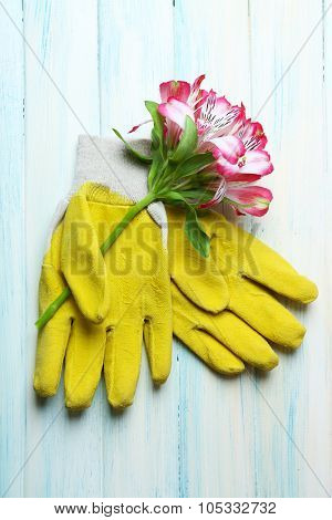 Concept of flower bouquet and garden gloves on light wooden background