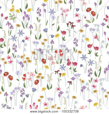 Seamless bright floral pattern with  different flowers. Endless texture for design, announcements, postcards, posters.