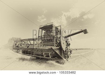 Combine Harvester In Sepia Technique