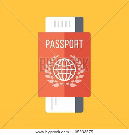 Red passport and boarding pass, airline ticket. Travel concept. Vector flat illustration