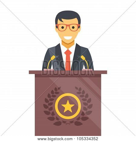 Speaker at podium. Man in suit standing at rostrum. Vector flat illustration