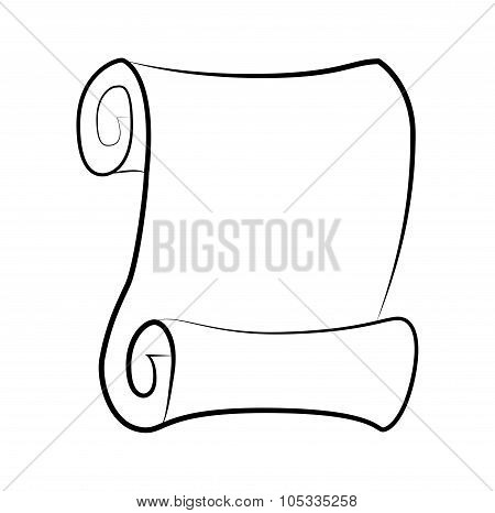 Vintage Blank Paper Scroll Silhouette Vector Isolated On White Background. Empty Parchment Rolled Up