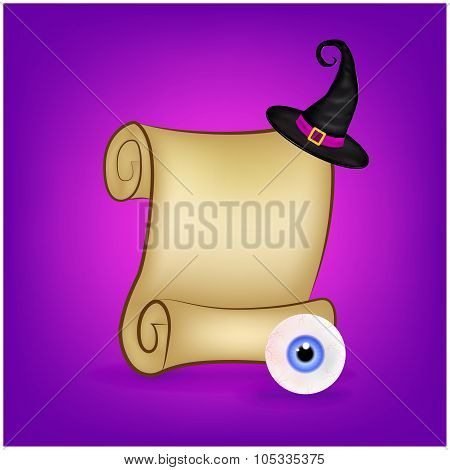 Halloween Banner, Card With Empty Paper Scroll And Eyeball, Witches Hat. Blank Ancient Scroll Of Par
