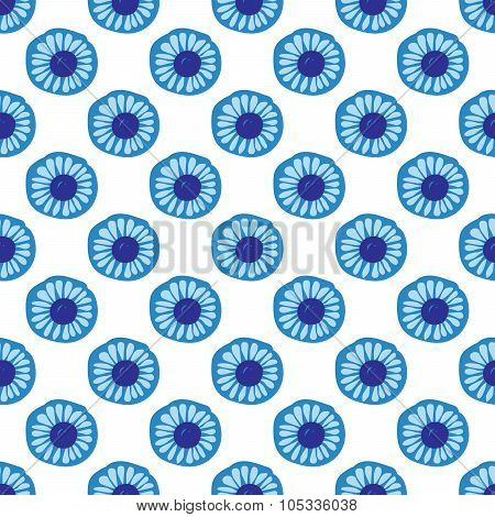 Blue Daisy Floral Seamless Patern Background