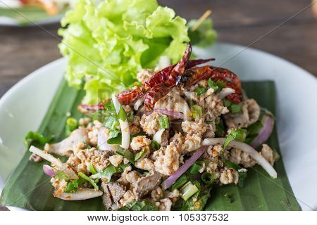 Spicy Minced Pork Salad, Spicy Thai Food..