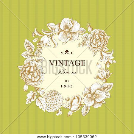 Beautiful card with a round wreath of different flowers of vintage garden.