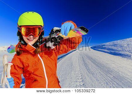 Ski, skier girl on ski run