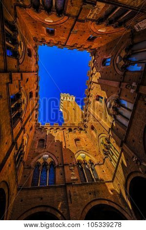 Siena - view of famous Torre del Mangia at Palazzo Pubblico in Siena, Tuscany, Italy