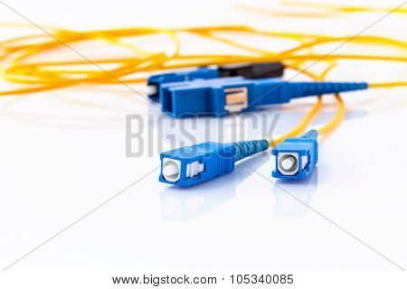 Fiber Optics Connectors Symbolic Photo For Fast Internet Connection ,internet Service Provider Equip