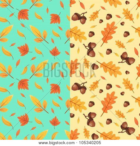 Autumn seamless patterns. Fall leaves. Vector illustration.