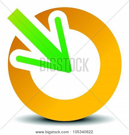 Arrow Pointing Into A Circle. Icon For Center, Midpoint, Inside, Target Concepts. Vector