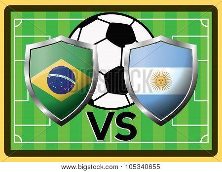 Brazil Vs Argentina. Sport Game Vector Symbol
