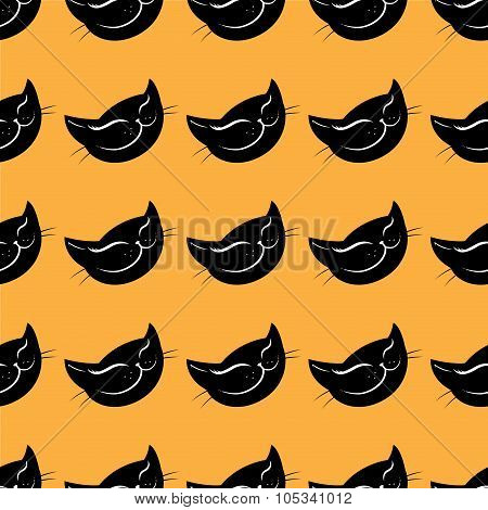 Seamless Pattern Black Cat Head