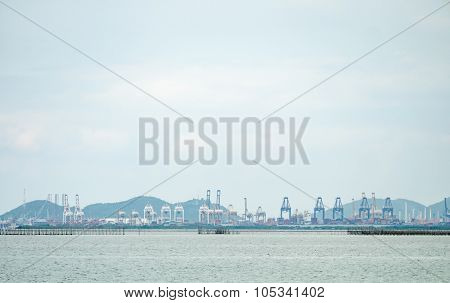 Industrial Harbor From The Far