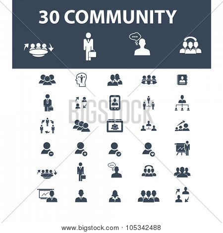 community, human resources, meeting, conference icons