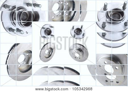 Isolated on white background brake discs and bearings for front side car
