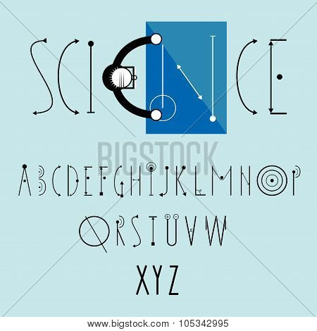 science logo vector with decorative font