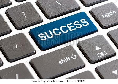 Close Up Success Button On Keyboard Computer
