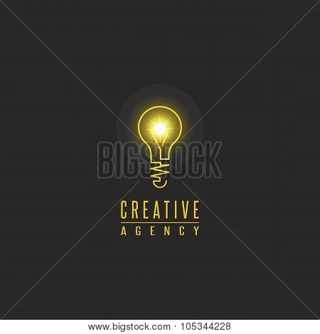 Light Bulb Logo, Lamp Shine Creative Innovation Sign, Web Development, Advertising, Design Agency Em