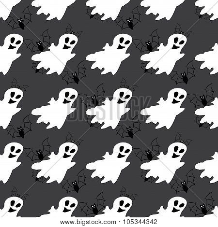 Seamless Pattern With White Ghosts.