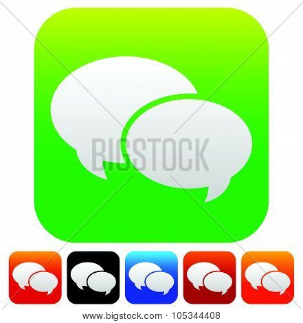 Speech Bubble Vector Graphics. Two Overlapping Speech, Talk Bubbles For Communication, Chat, Support
