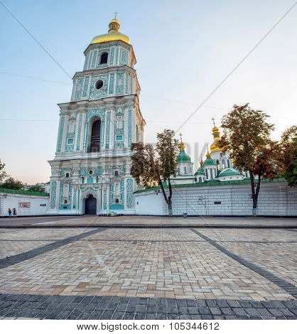 The Bell Tower Of Saint Sophia Cathedral In The Center Of Kiev, Ukraine. It Is One Of The Most Visit