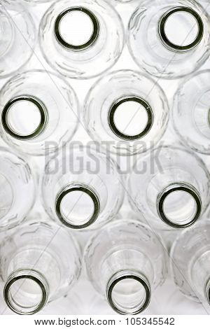 empty bottles the top view small depth of sharpness on a neck