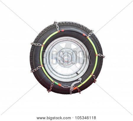 Snow Chain Tide On Vehicle Rubber Tire For Use On Frosty Road In Winter Season Isolated White Backgr